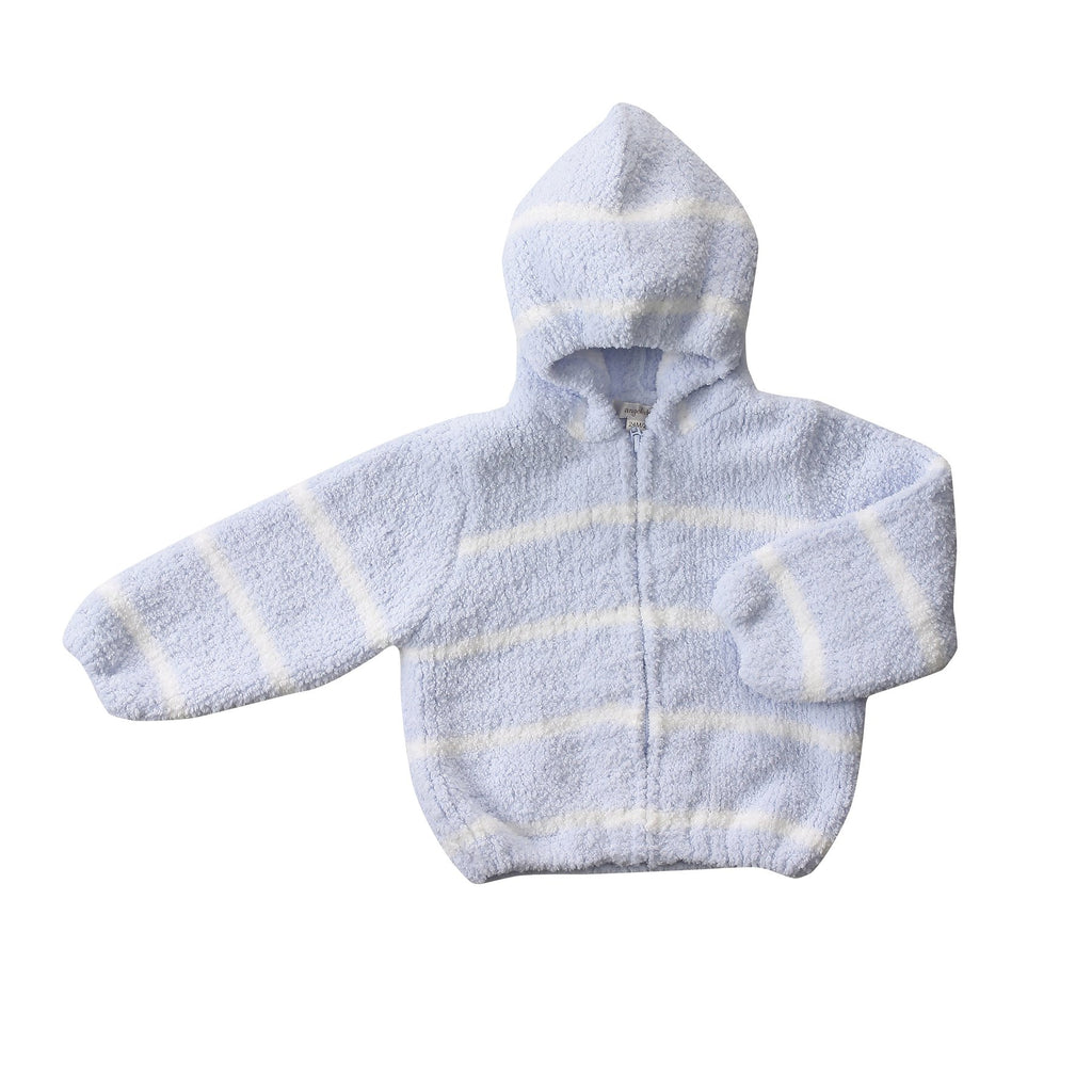 Angel Dear Chenille Hoodie in Blue & Ivory
