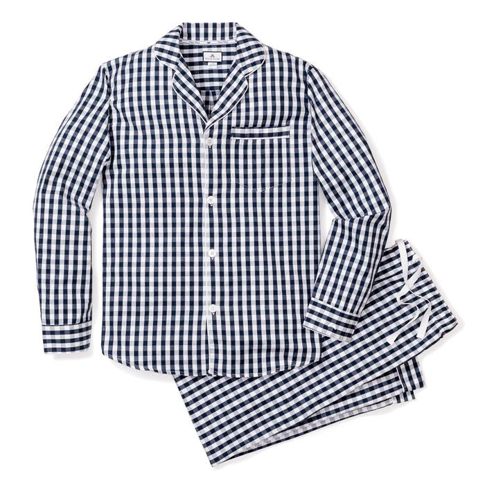 Petite Plume Men's Navy Gingham Pajama Set