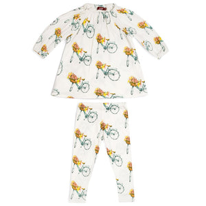 Milkbarn Floral Bicycle Bamboo Dress & Legging Set
