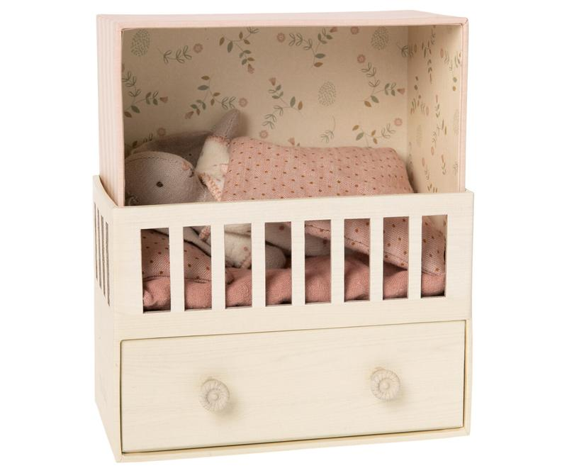 Maileg Baby Room Music Box with Micro Bunny in Pink