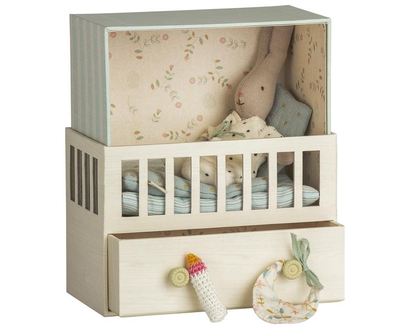 Maileg Baby Room Music Box With Micro Rabbit In Sky Blue – Crush Boutique