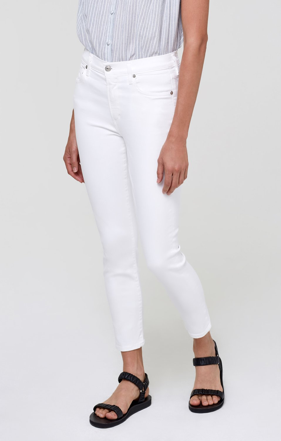 Citizens of Humanity Rocket Ankle Mid-Rise Skinny in White Sculpt
