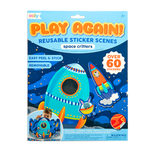 OOLY Play Again Reusable Sticker Scenes - Space Critters