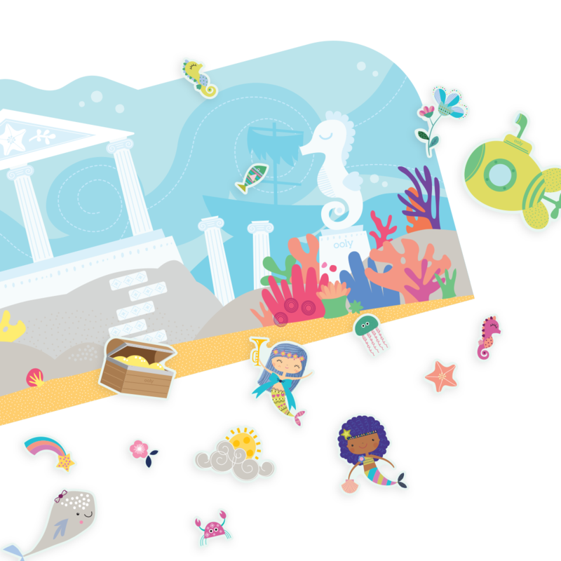 OOLY Play Again Reusable Sticker Scenes - Mermaid Magic