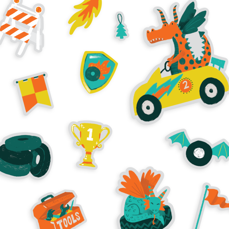 OOLY Play Again Reusable Sticker Scenes - Dragon Racetrack