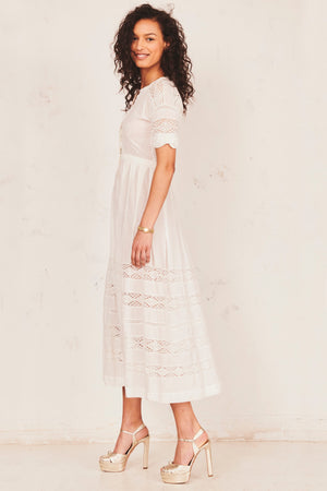 LoveShackFancy Edie Dress in White