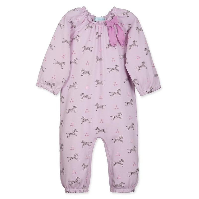 Feather Baby Zebra Bow Romper in Soft Pink