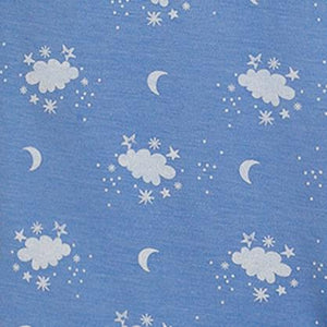 Feather Baby Night Sky Kangaroo Romper on Cornflower Blue