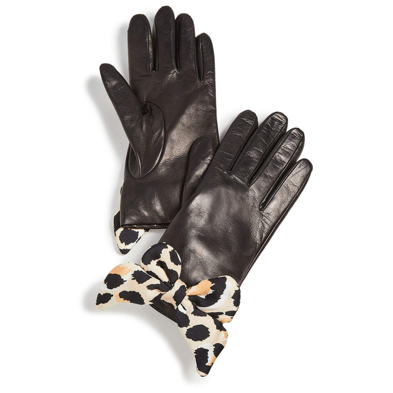 Lele Sadoughi Jet Leopard Button Hole Glove with Bow