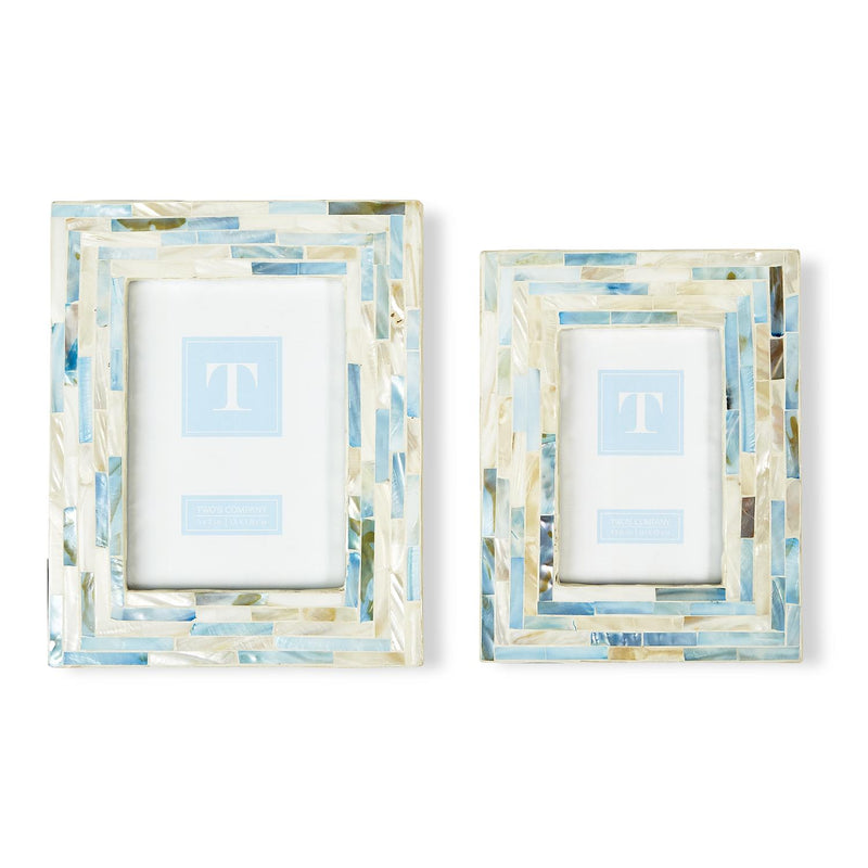Two's Company Tiled Mother of Pearl Frame in White/Blue
