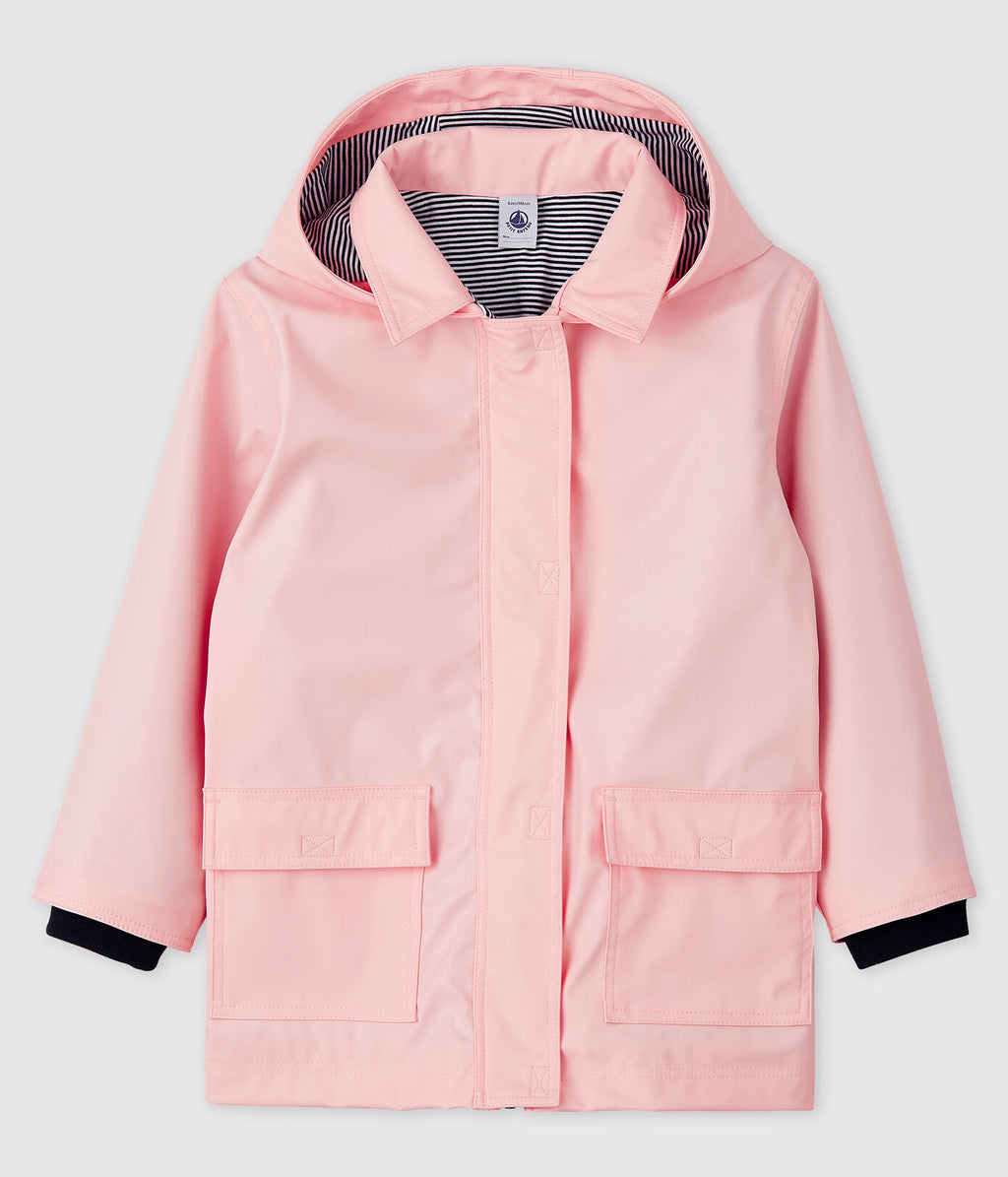 Petit Bateau Lelsa Baby Hooded Rain Jacket in Pink