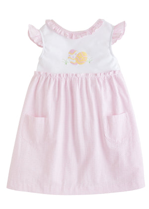 Little English Easter Egg Sara Dress in Pink Gingham