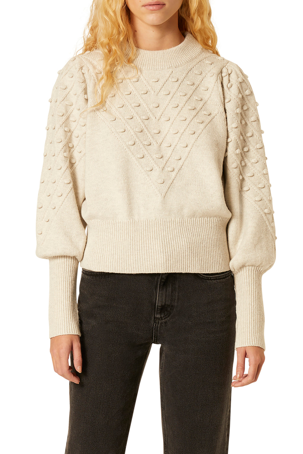 French Connection Cropped Bobble Knit Sweater in Classic Cream