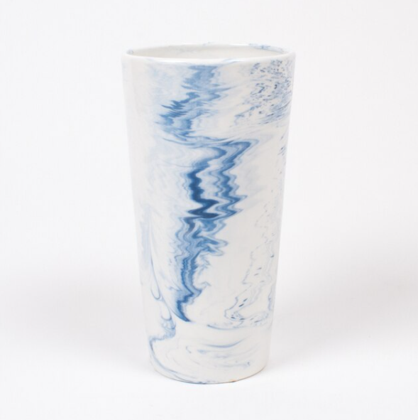 8 Oak Lane Medium Blue Swirl Vase