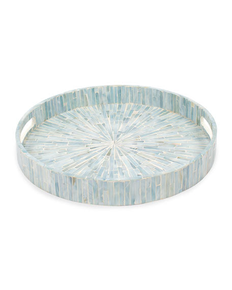 8 Oak Lane Round Mother Of Pearl Tray in Blue
