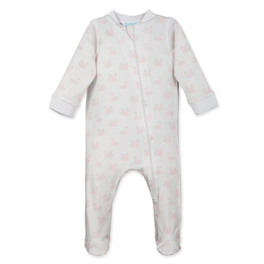 Feather Baby Swan Pointillism Zipper Footie in White