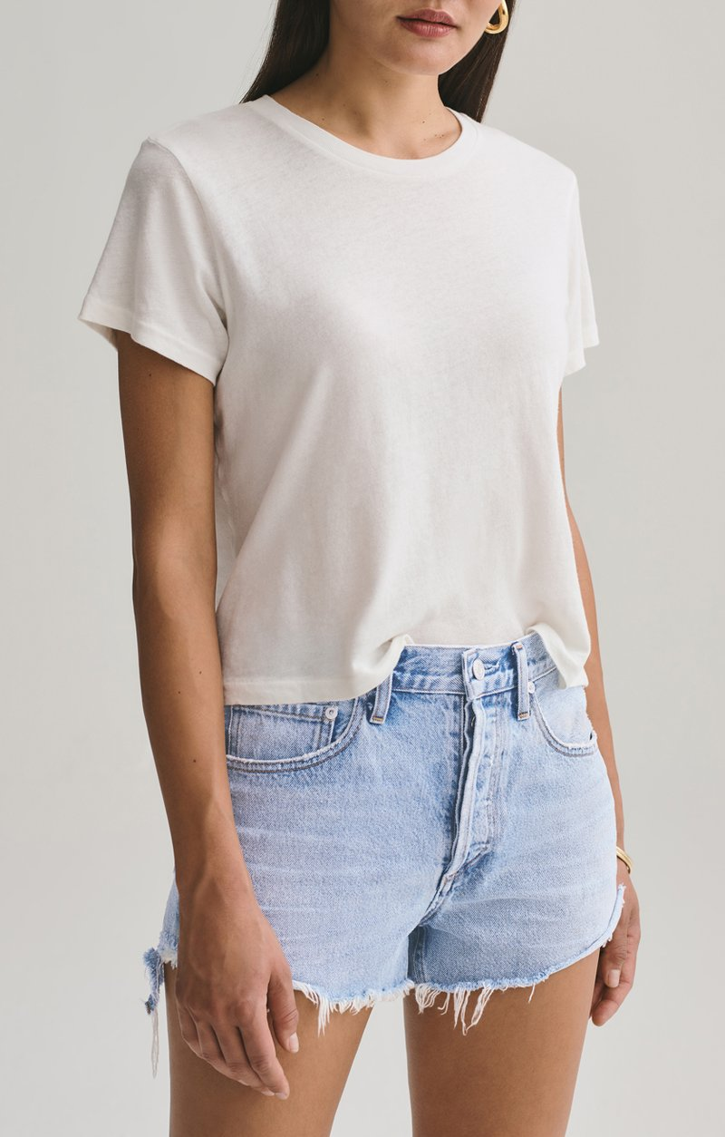 Agolde Linda Boxy Tee in Tissue