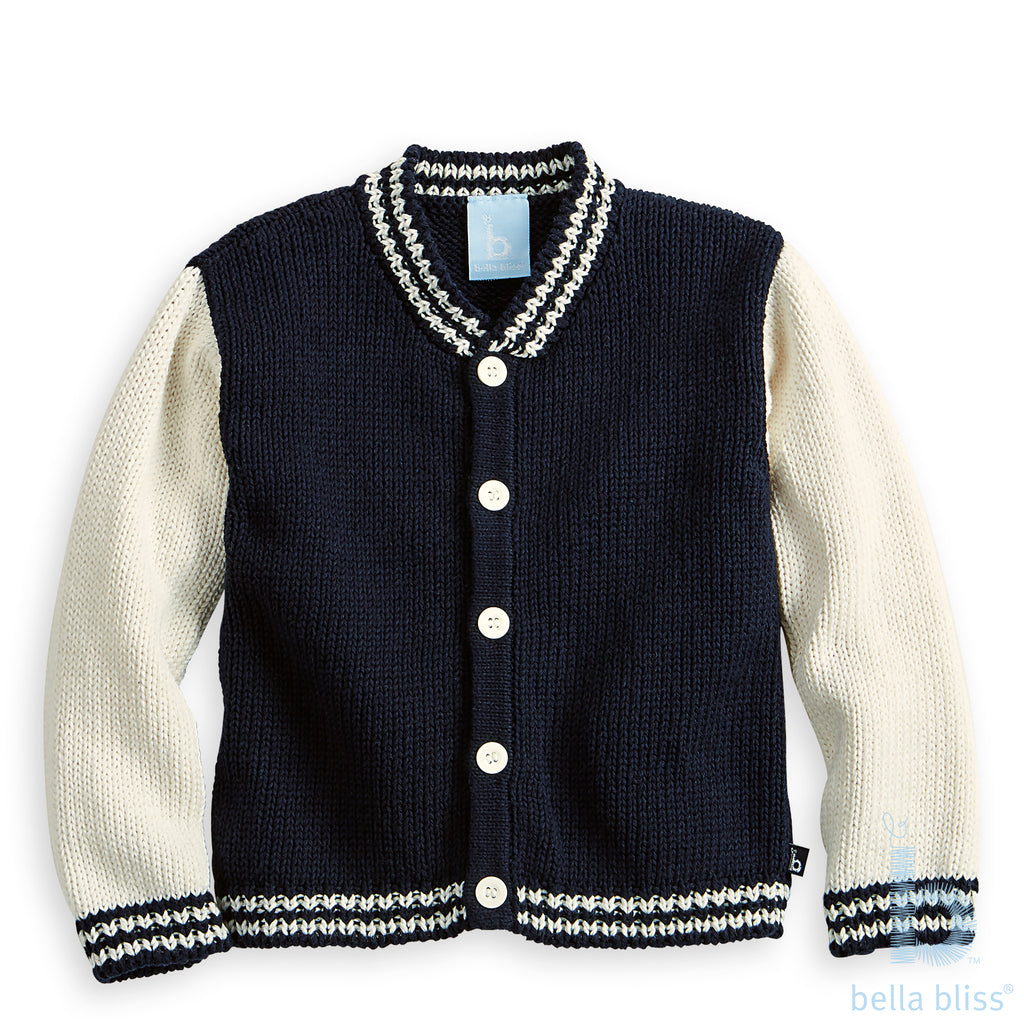 *Pre-Order Bella Bliss Letterman Cardigan in Navy Knit