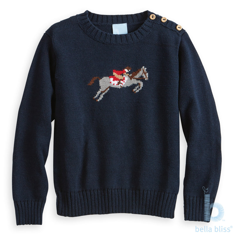 Bella Bliss Intarsia Hunter Pullover Sweater in Navy