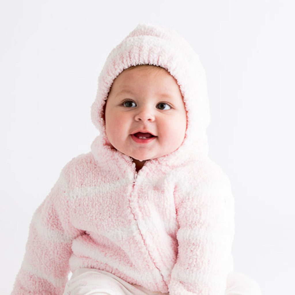 Angel Dear Chenille Hoodie in Pretty Pink & Ivory