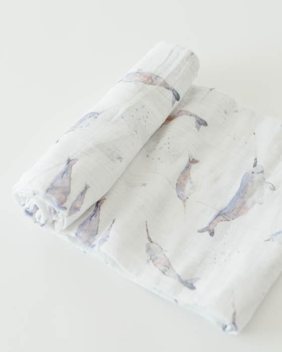 Little Unicorn Cotton Muslin Swaddle in Narwhal
