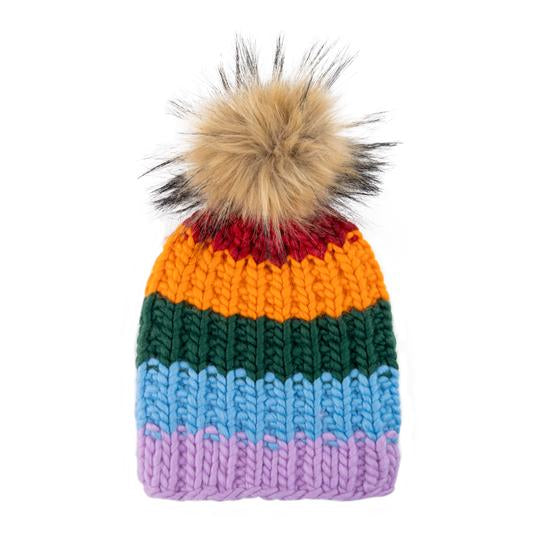 Shit That I Knit Rainbow Beanie - with 2 Poms!