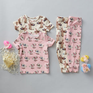 Pink Chicken Baby Spring PJ Set in Strawberry Cream Chicks