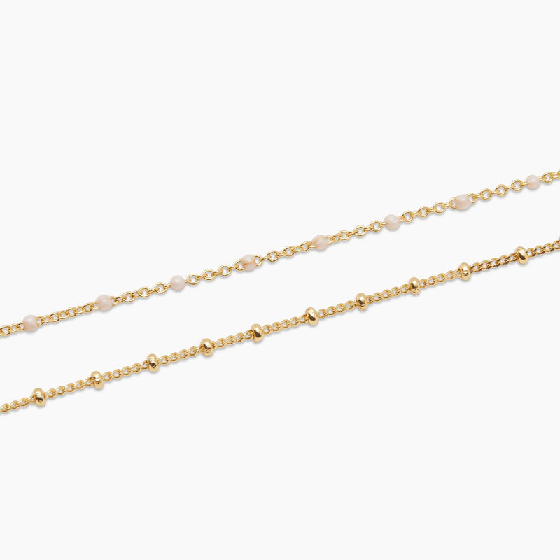 Gorjana Capri Layer Necklace in Pearl/Gold
