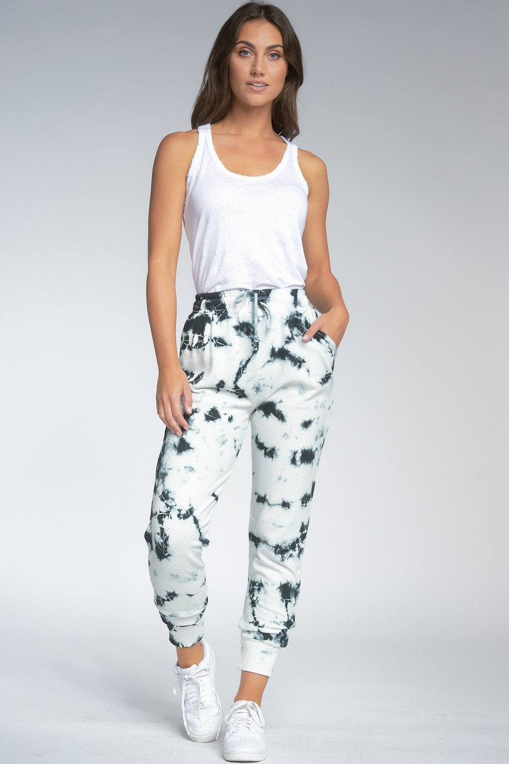 Elan Alex Joggers in Black Tie Dye