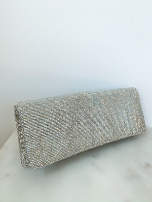 Tiana Beaded Clutch in Silver