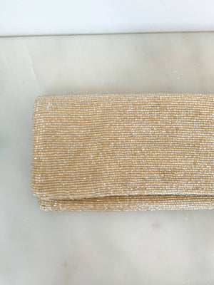 Tiana Beaded Clutch in Coffee