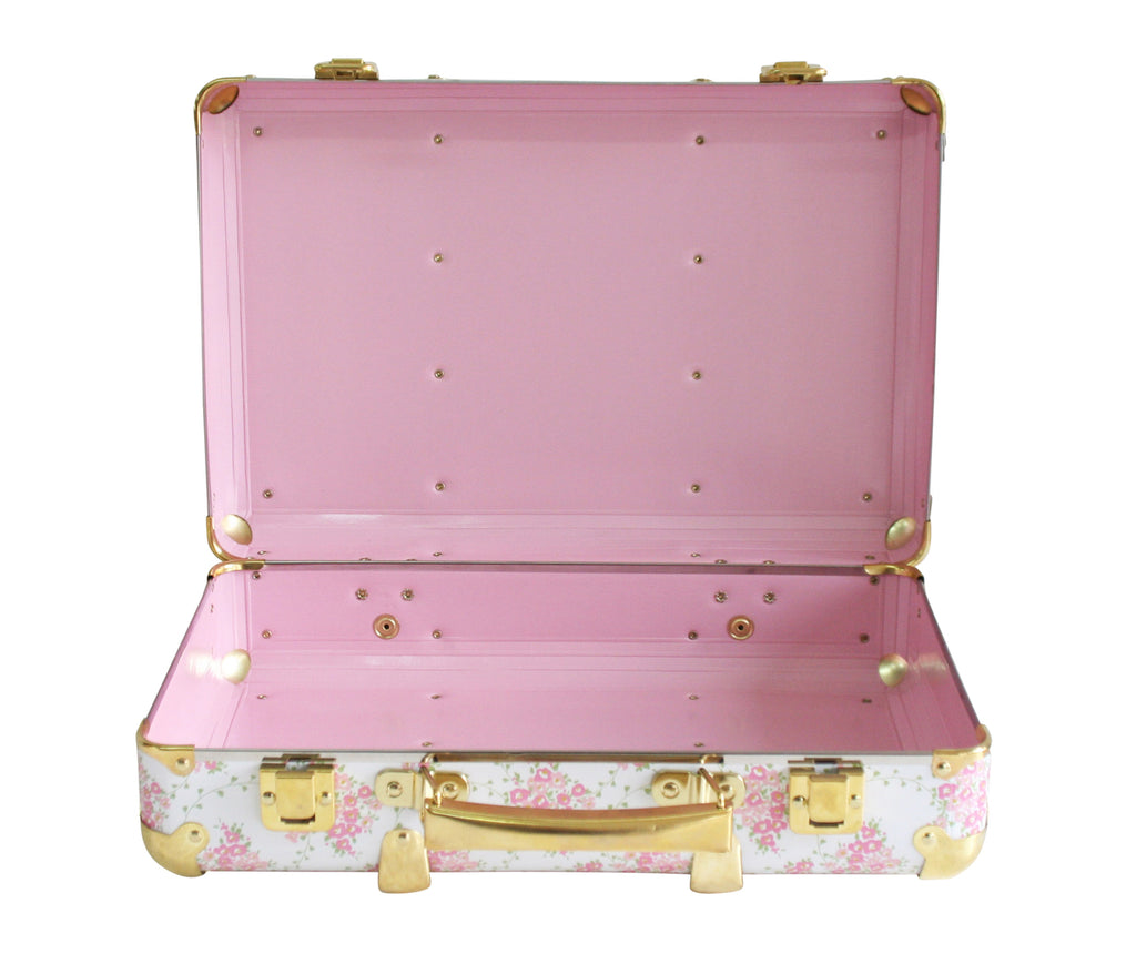 Alimrose Mini Vintage Briefcase in Floral Wreath White