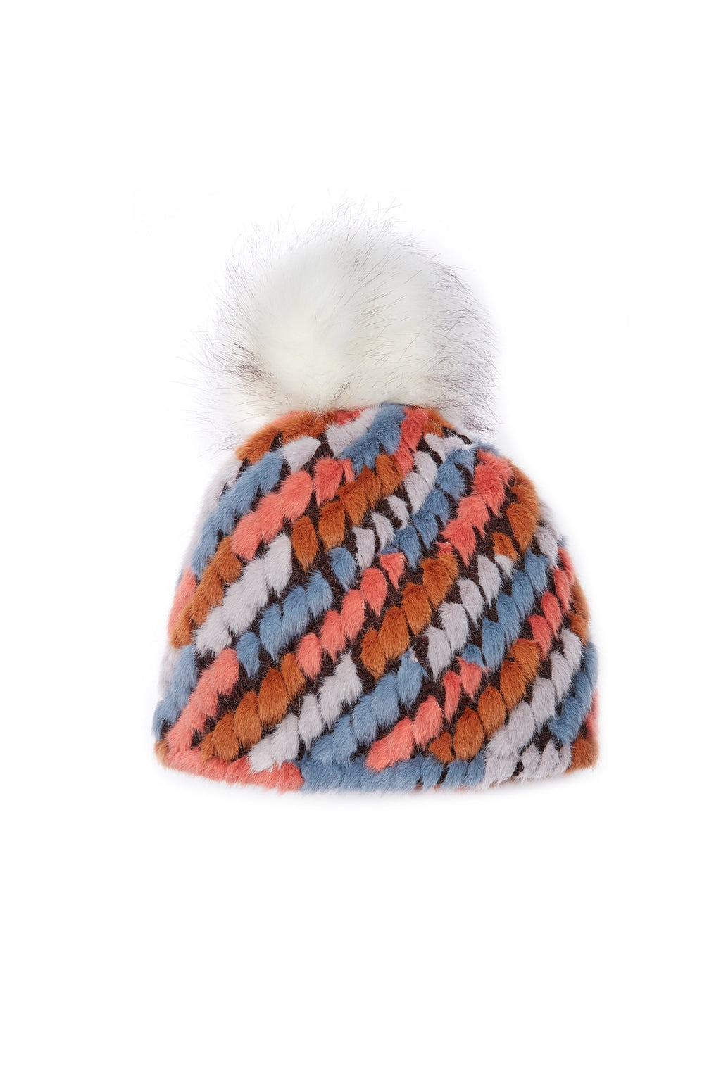 Jocelyn Knitted Faux Fur Crosby Pineapple Hat in Tan Multi