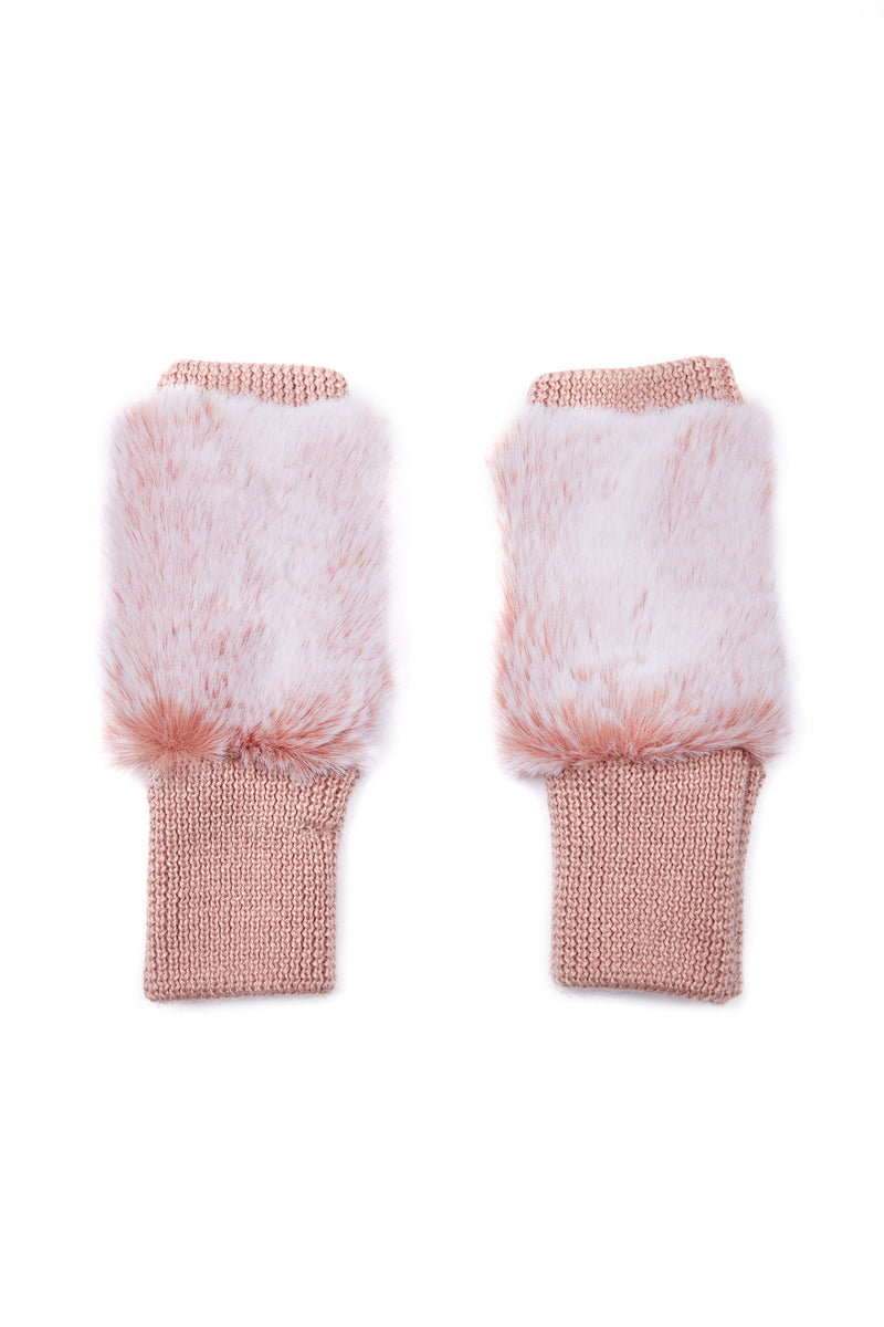 Jocelyn Snowtop Faux Fur Texty Time Mittens in Blush