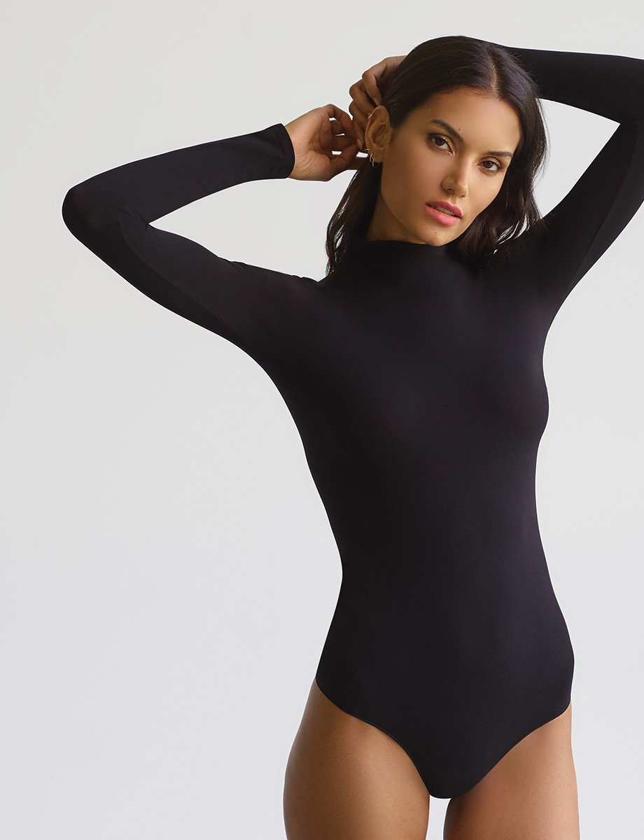 Commando Ballet Mockneck Long Sleeve Bodysuit in Black