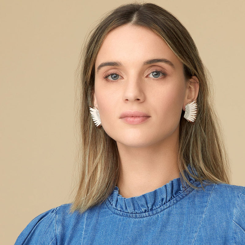 Mignonne Gavigan Mini Madeline Earrings in Ivory/Rose Gold