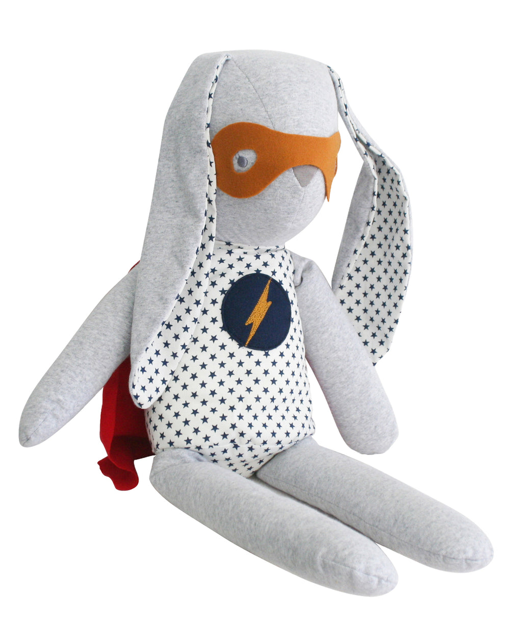 Alimrose Hero Cuddle Bunny in Navy Star