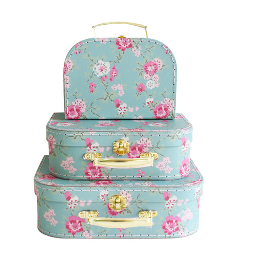 Alimrose Kids Carry Case Set in Aqua Cottage Rose