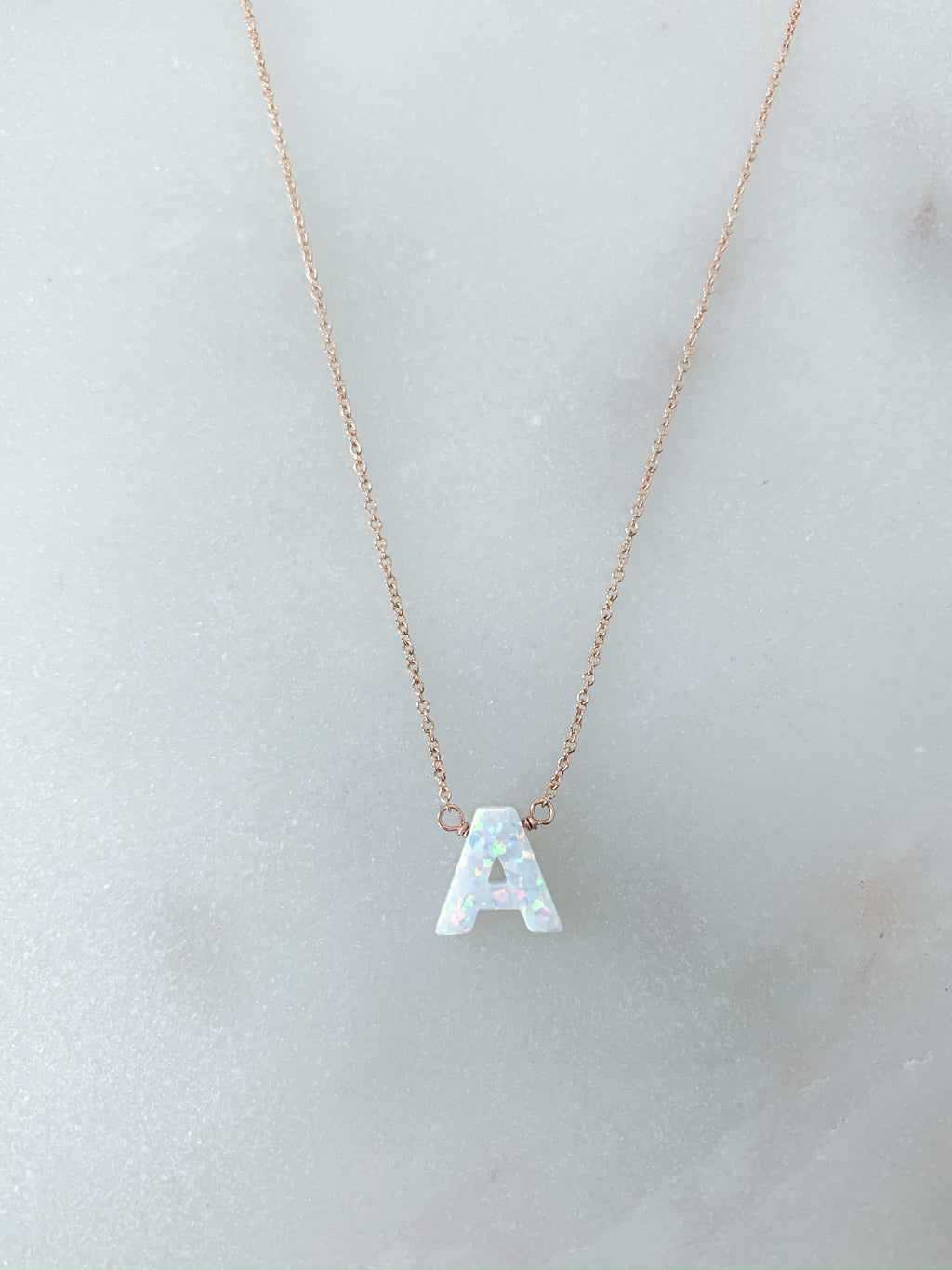 Opal Initial Necklace