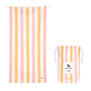 Dock & Bay XL Summer Stripe Towel in Peach Sorbet
