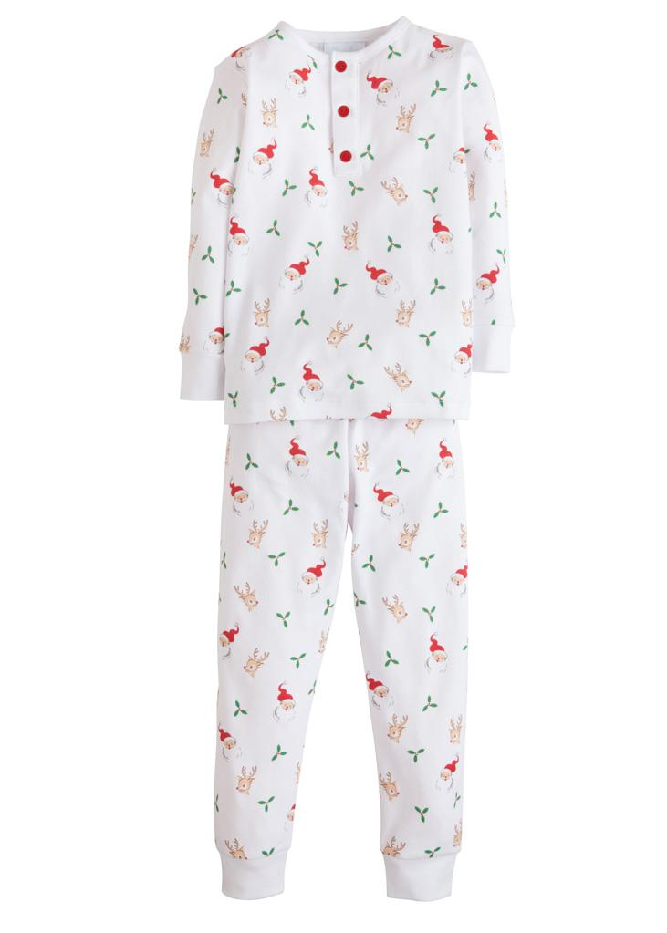Little English Santa and Reindeer Printed Boys Pajamas