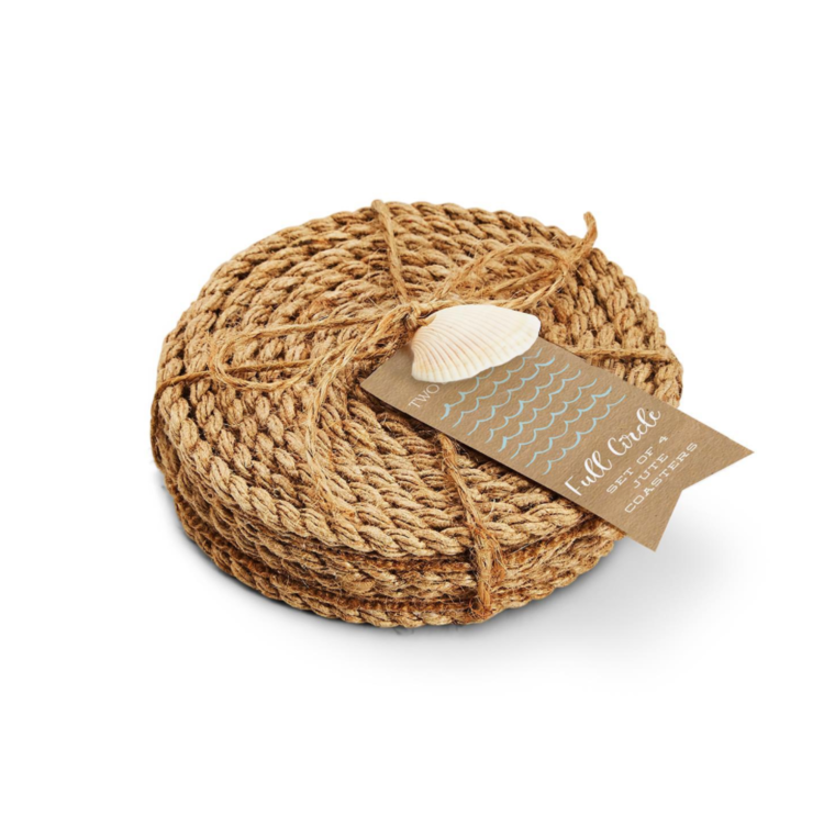 Two's Company Full Circle Jute Coaster Set