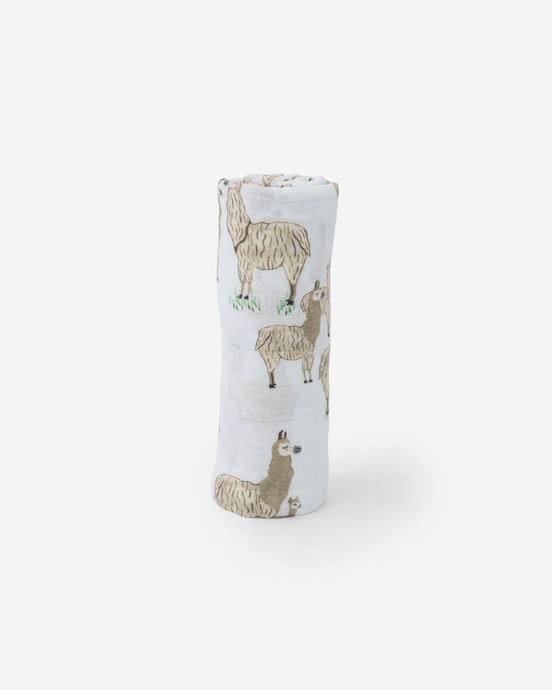 Little Unicorn Cotton Muslin Swaddle in Llama Llama