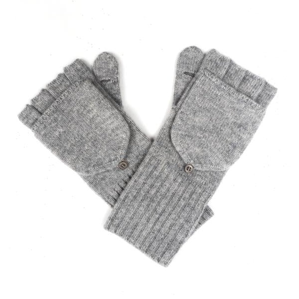 White + Warren Cashmere Pop Top Glove in Grey