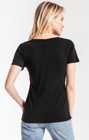 Z Supply Perfect V Neck Tee in Black