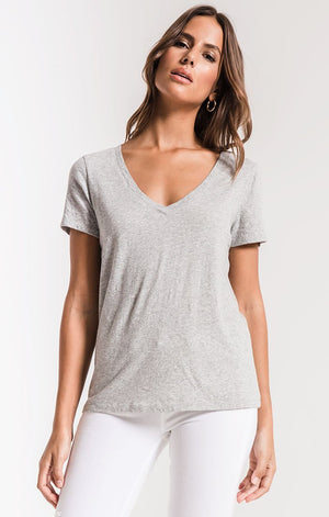 Z Supply Perfect V Neck Tee in Heather