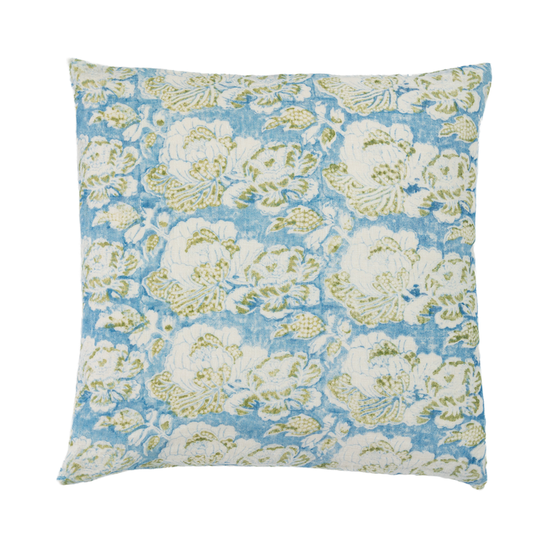 Alamwar Cabbage Rose Pillow in Blue/Green