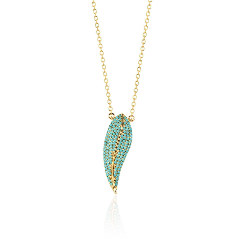Elli Parr Avery Feather Necklace in Turquoise