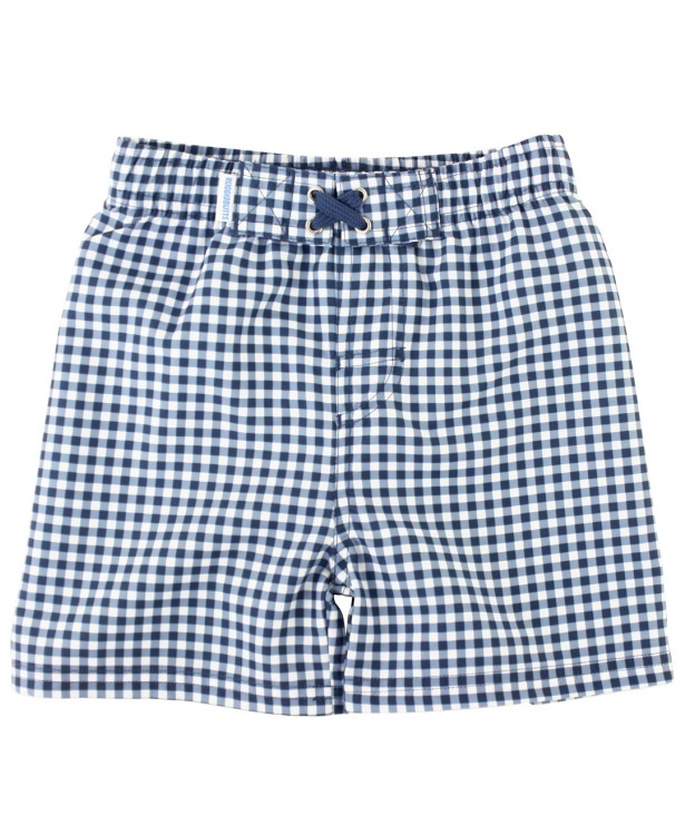 RuggedButts Navy Gingham Swim Trunks