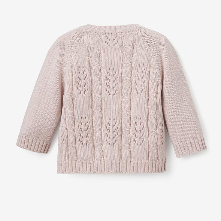 Elegant Baby Leaf Pointelle Cardigan in Blush